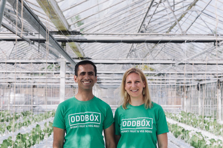 Photo of Deepak Ravindran and Emilie Vanpoperinghe, cofounders of B Corp Oddbox