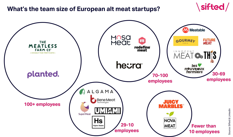 Alt meat startup team sizes