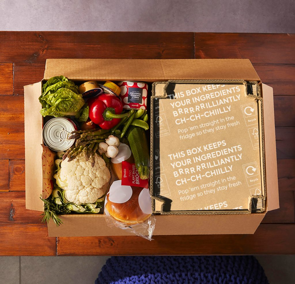 """A cardboard """"Eco Chill Box"""" inside a Gousto meal kit."""