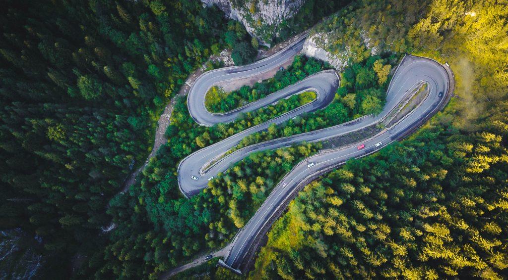Aerial shot of winding road