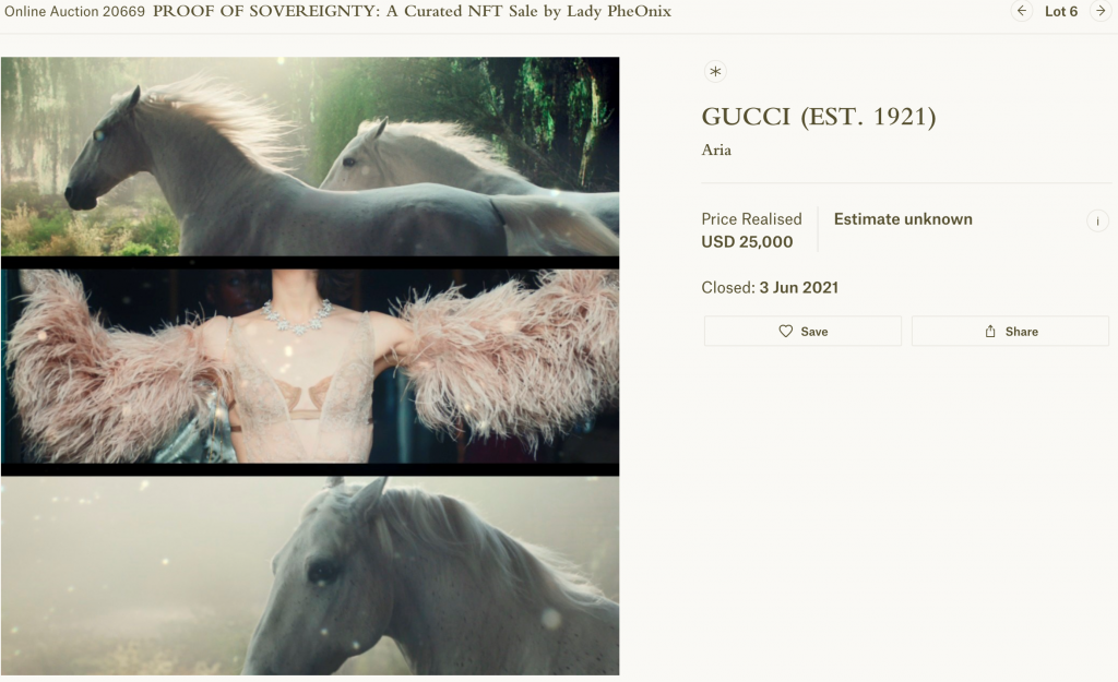 Gucci NFT Aria sold by Christie's