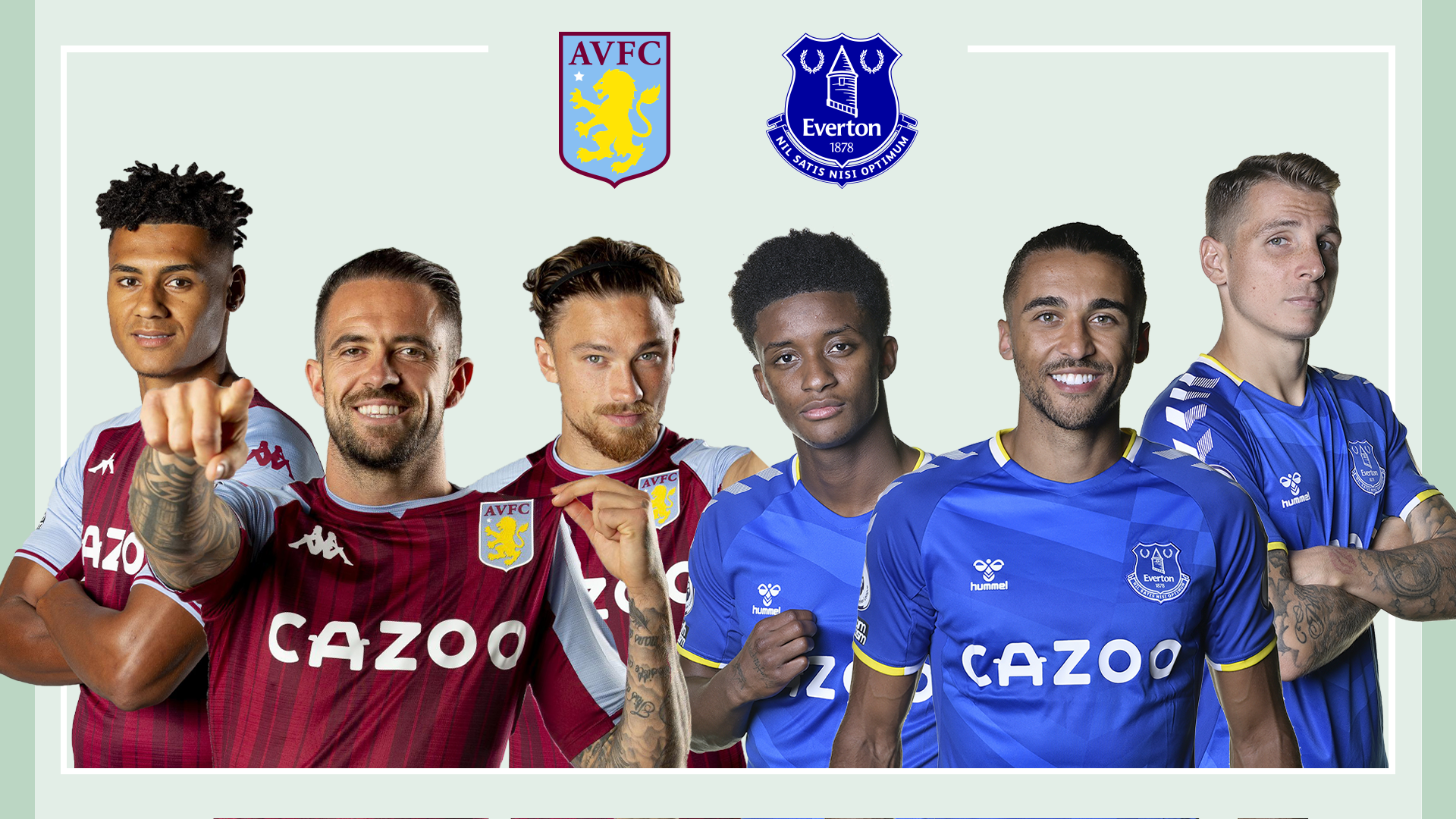 Aston Villa and Everton players on a green background.